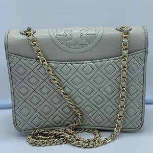 TORY BURCH Gray leather crossbody gold chain strap
